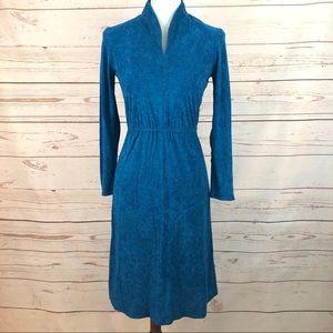 VTG 70's Teal Blue Terrycloth Dress